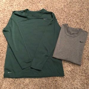 Two Nike Dri-fit long sleeve shirts